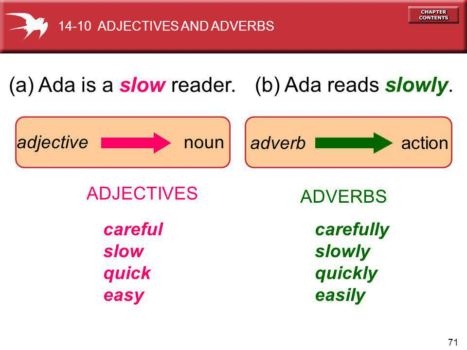 71 (a) Ada is a slow reader.