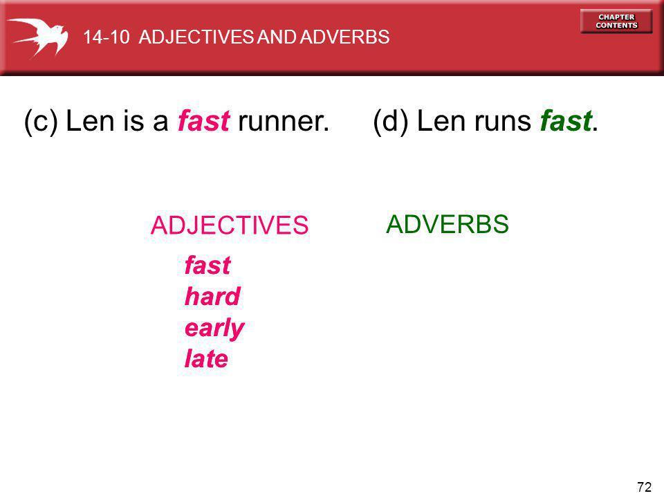 72 (c) Len is a fast runner. ADJECTIVES ADVERBS fast hard early late fast hard early late 14-10 ADJECTIVES AND ADVERBS (d) Len runs fast.