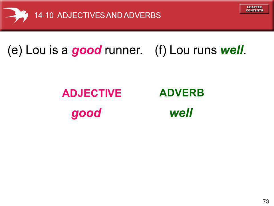 73 (e) Lou is a good runner. ADJECTIVE ADVERB 14-10 ADJECTIVES AND ADVERBS (f) Lou runs well. goodwell