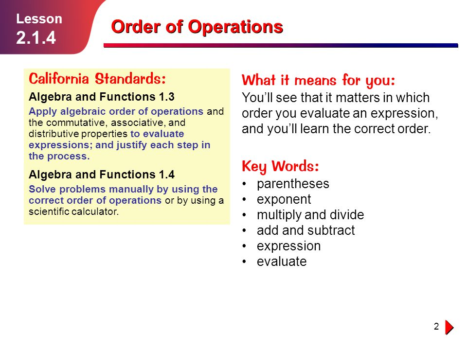 3 Sometimes youll meet expressions containing different combinations of operations (such as ×, ÷, +, and –).