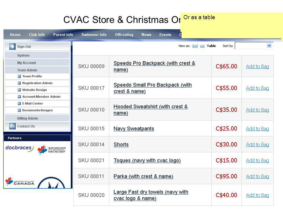 CVAC Store & Christmas Order Which brings you to the Christmas Order page, scroll down to see all the items that are available.