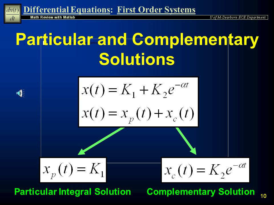 Differential Equations:First Order Systems 9 First Order Solution Summary n A General First-Order Constant Coefficient Differential Equation of the fo