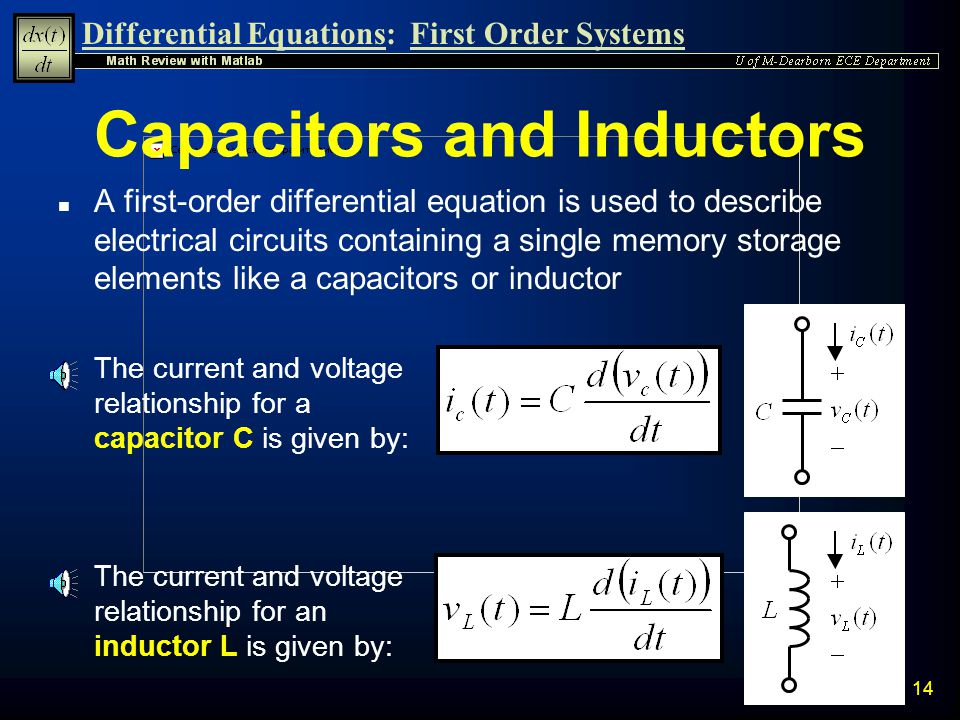 Differential Equations:First Order Systems 13 n A Resistor has a linear relationship between voltage and current governed by Ohms Law Electrical Appli