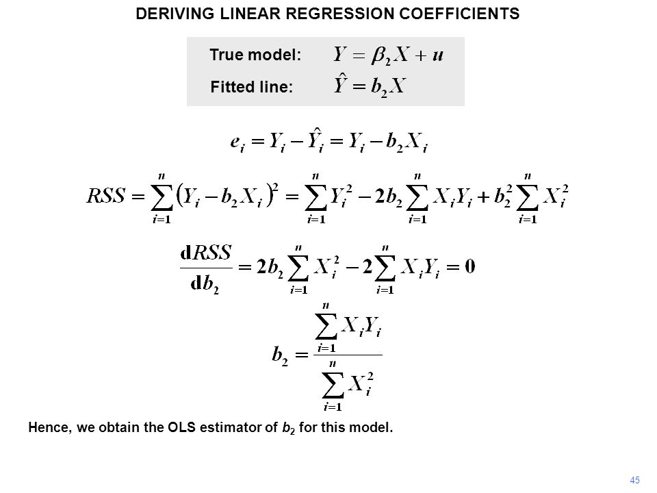 DERIVING LINEAR REGRESSION COEFFICIENTS 45 Hence, we obtain the OLS estimator of b 2 for this model. True model: Fitted line: