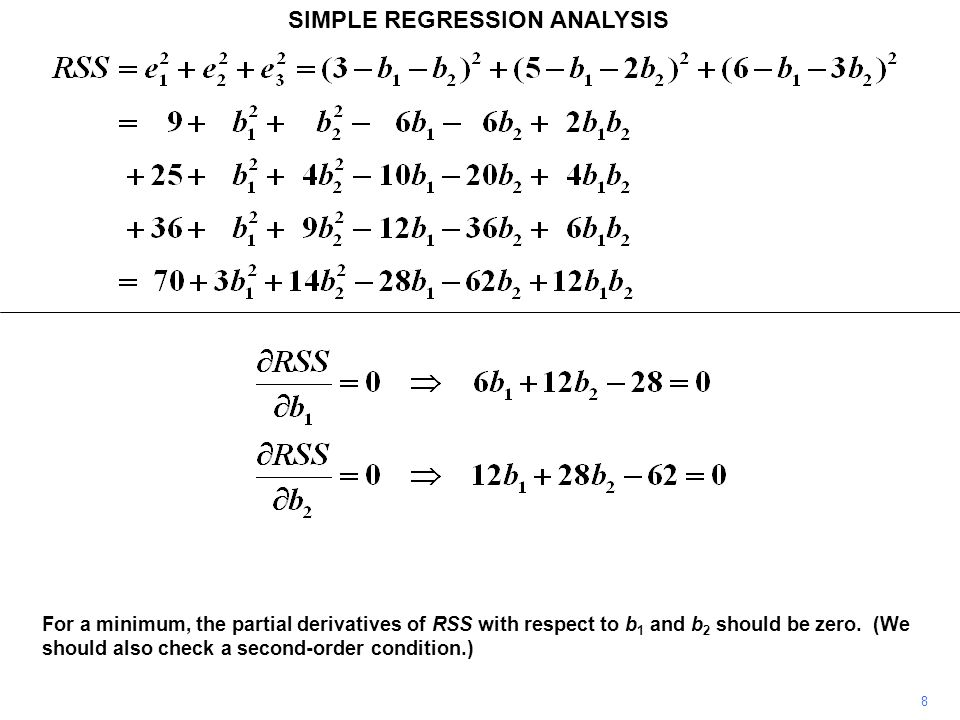 SIMPLE REGRESSION ANALYSIS For a minimum, the partial derivatives of RSS with respect to b 1 and b 2 should be zero. (We should also check a second-or