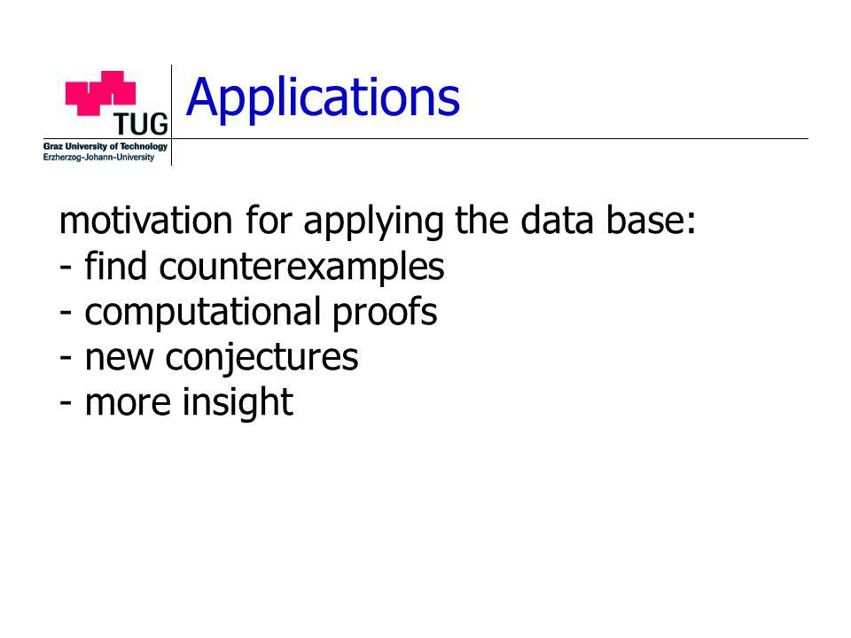 Applications motivation for applying the data base: - find counterexamples - computational proofs - new conjectures - more insight
