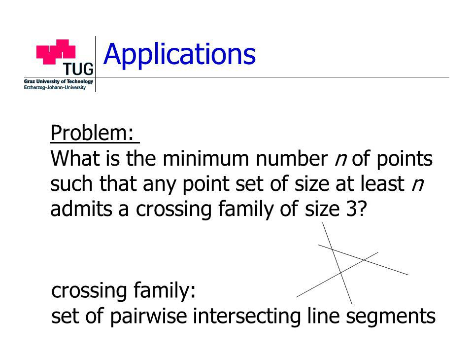 Applications Problem: What is the minimum number n of points such that any point set of size at least n admits a crossing family of size 3.
