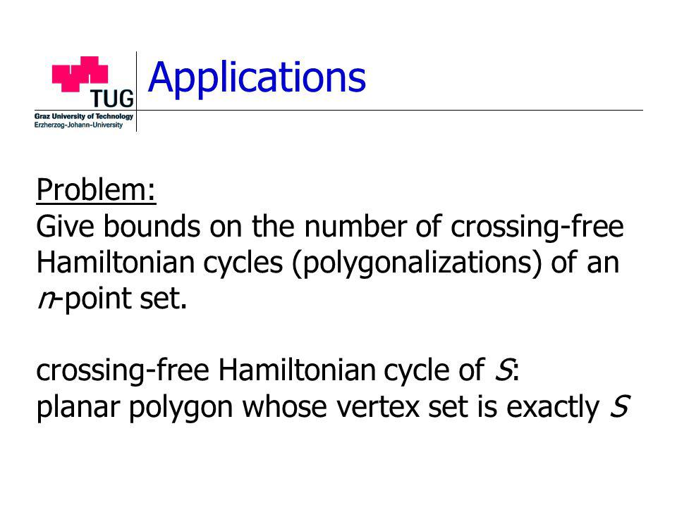 Applications Problem: Give bounds on the number of crossing-free Hamiltonian cycles (polygonalizations) of an n-point set.