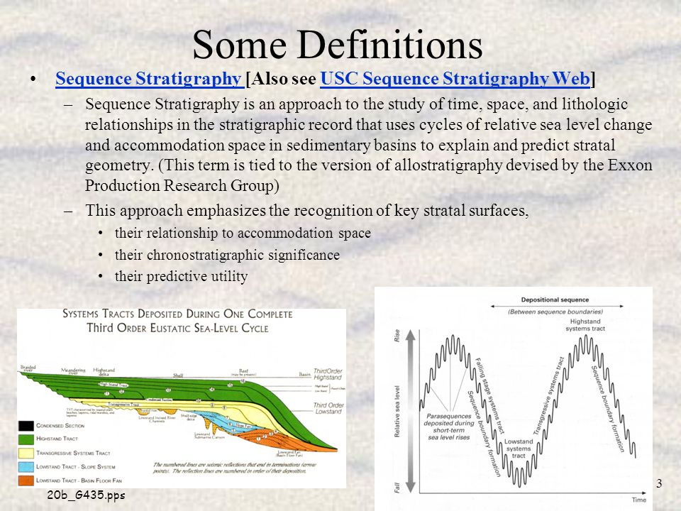 20b_G435.pps 4 Some Definitions and Review of Key Concepts Allostratigraphy –Subdivision of the stratigraphic record otbo unconformities, their correlative conformities, and other key stratal surfaces; –These surfaces are allogenic (generated by processes essentially external to the site of sedimentation) and are chronostratigraphically (provide information on relative geologic age) significant In any given basin, or part of a basin, the effect on accommodation space of base level changes will exert a fundamental control on stratigraphy.