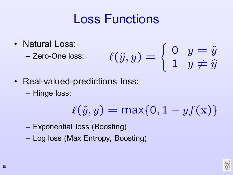 10 Loss Functions Natural Loss: –Zero-One loss: Real-valued-predictions loss: –Hinge loss: –Exponential loss (Boosting) –Log loss (Max Entropy, Boosti
