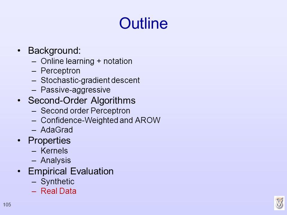 105 Outline Background: –Online learning + notation –Perceptron –Stochastic-gradient descent –Passive-aggressive Second-Order Algorithms –Second order