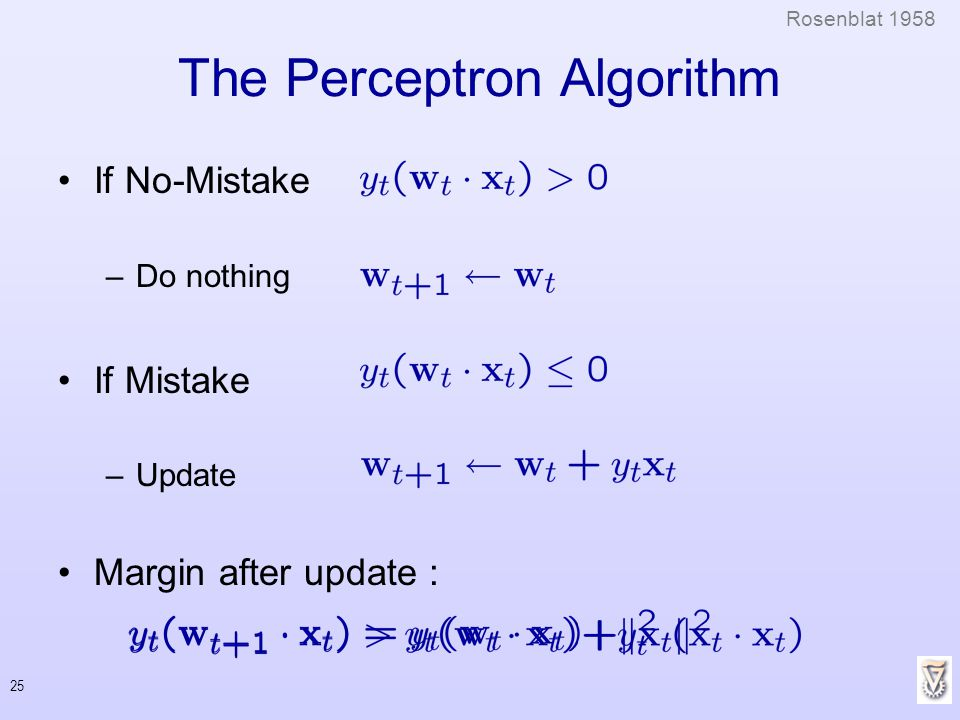 25 The Perceptron Algorithm If No-Mistake –Do nothing If Mistake –Update Margin after update : Rosenblat 1958