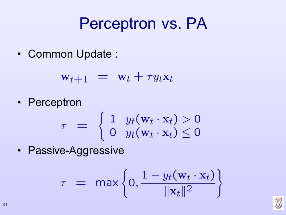 41 Perceptron vs. PA Common Update : Perceptron Passive-Aggressive