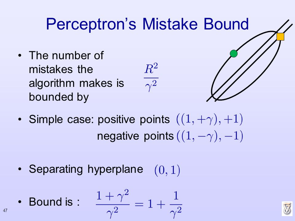 Simple case: positive points negative points Separating hyperplane Bound is : Perceptrons Mistake Bound The number of mistakes the algorithm makes is