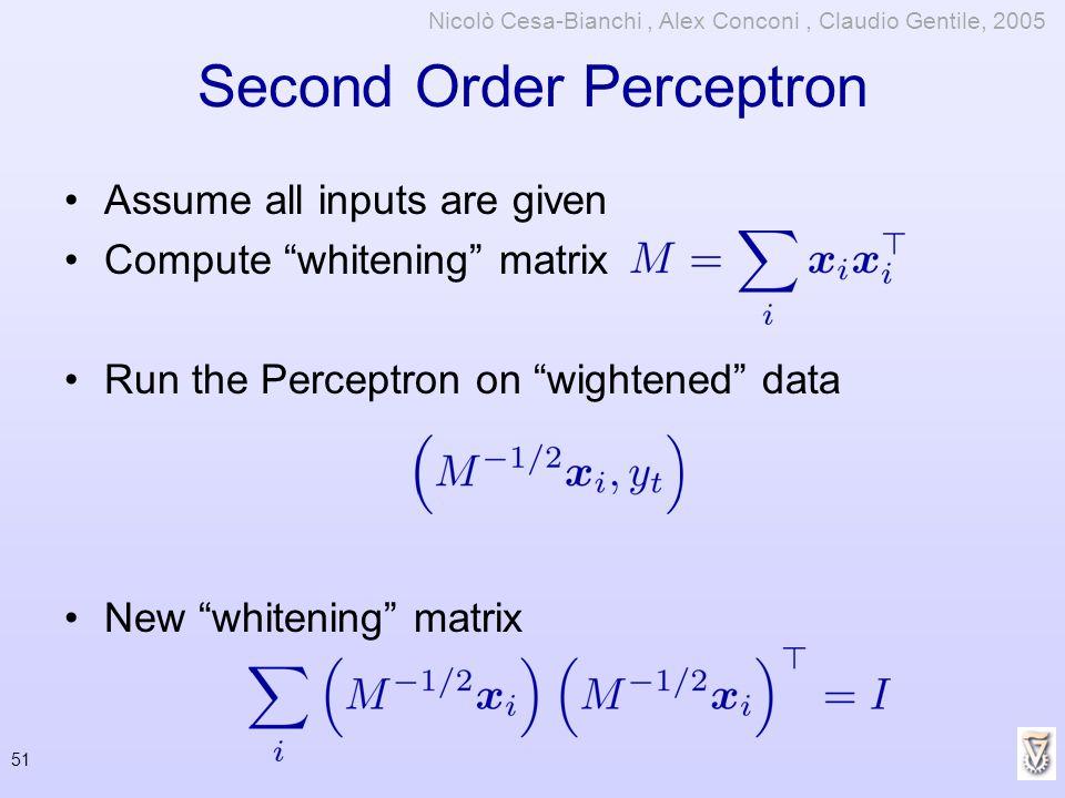 Second Order Perceptron Assume all inputs are given Compute whitening matrix Run the Perceptron on wightened data New whitening matrix 51 Nicolò Cesa-
