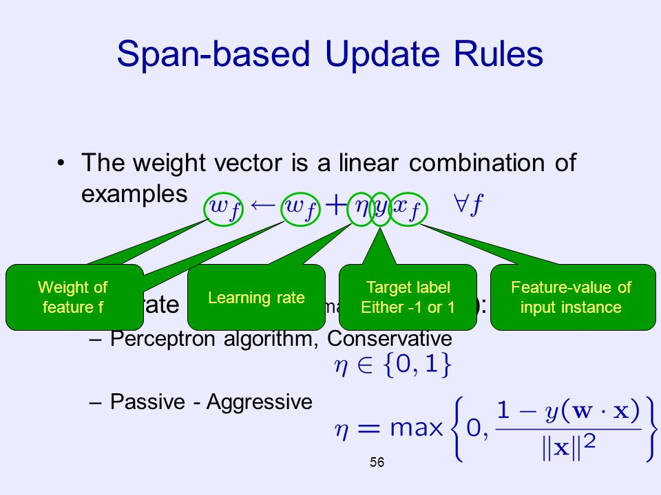 56 The weight vector is a linear combination of examples Two rate schedules ( many many others ): –Perceptron algorithm, Conservative –Passive - Aggre