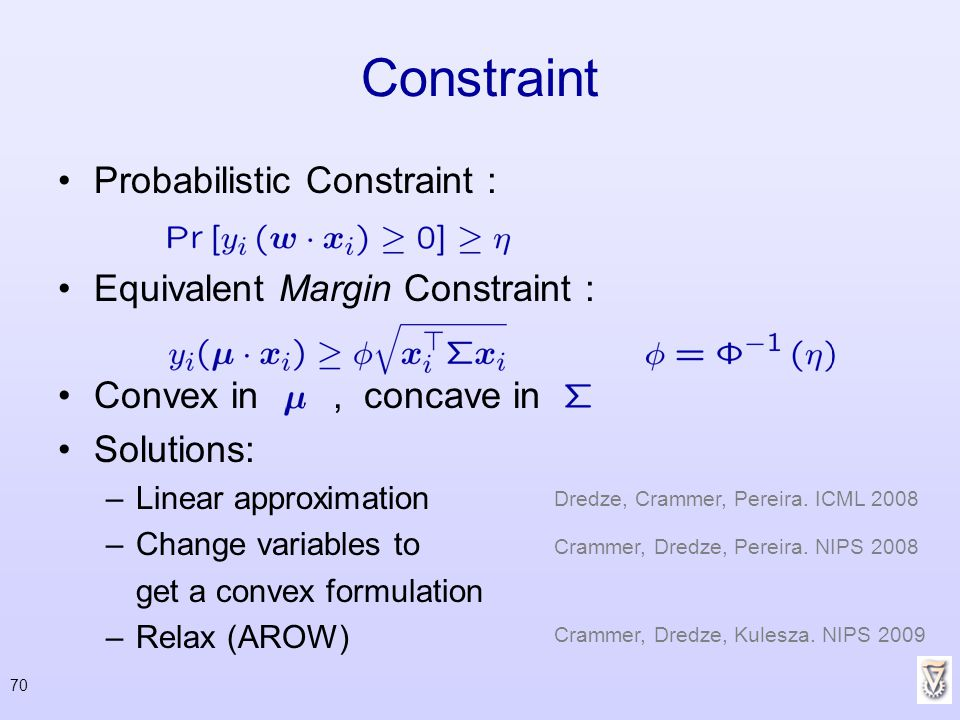70 Constraint Probabilistic Constraint : Equivalent Margin Constraint : Convex in, concave in Solutions: –Linear approximation –Change variables to ge