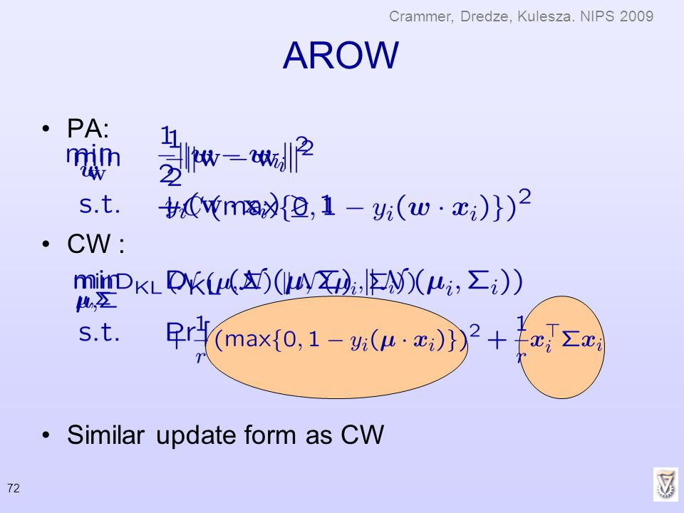 72 AROW PA: CW : Similar update form as CW Crammer, Dredze, Kulesza. NIPS 2009