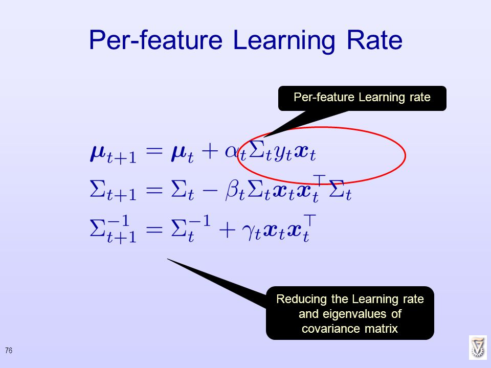 76 Per-feature Learning Rate Per-feature Learning rate Reducing the Learning rate and eigenvalues of covariance matrix