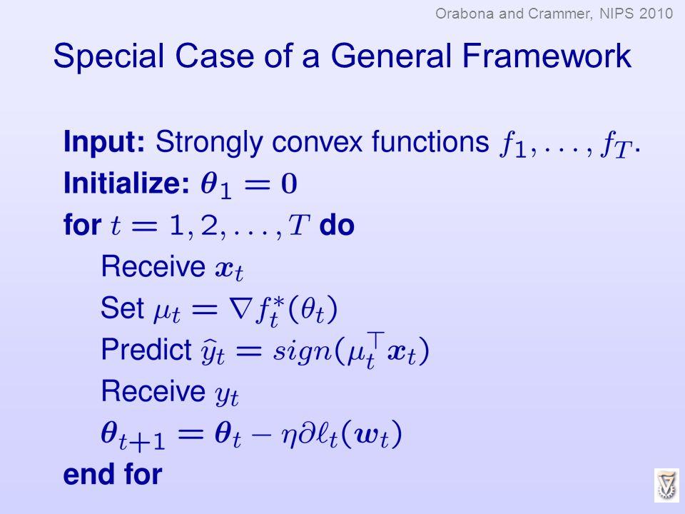Special Case of a General Framework Orabona and Crammer, NIPS 2010