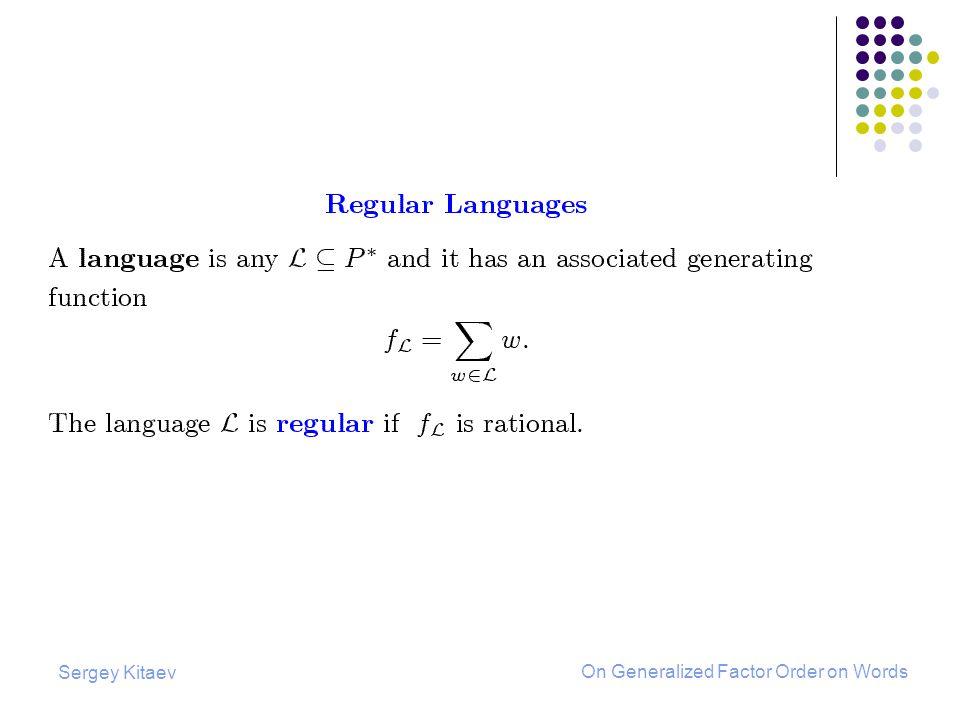 Sergey Kitaev On Generalized Factor Order on Words