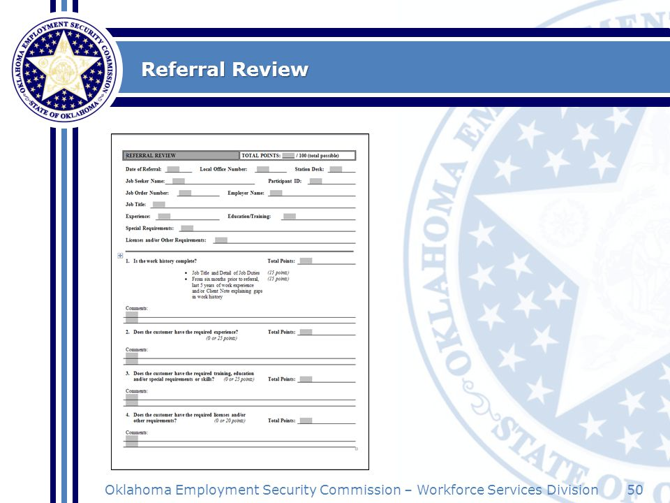50Oklahoma Employment Security Commission – Workforce Services Division Referral Review