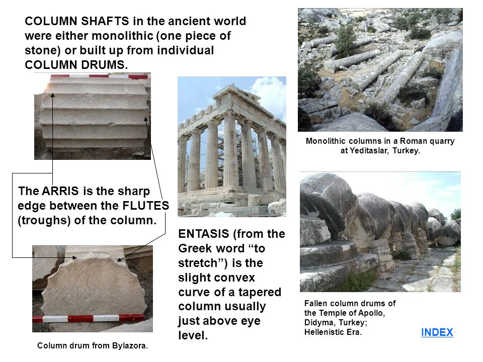 INDEX COLUMN SHAFTS in the ancient world were either monolithic (one piece of stone) or built up from individual COLUMN DRUMS.