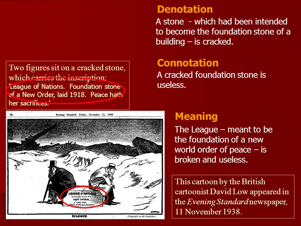A stone - which had been intended to become the foundation stone of a building – is cracked. A cracked foundation stone is useless. Denotation Connota