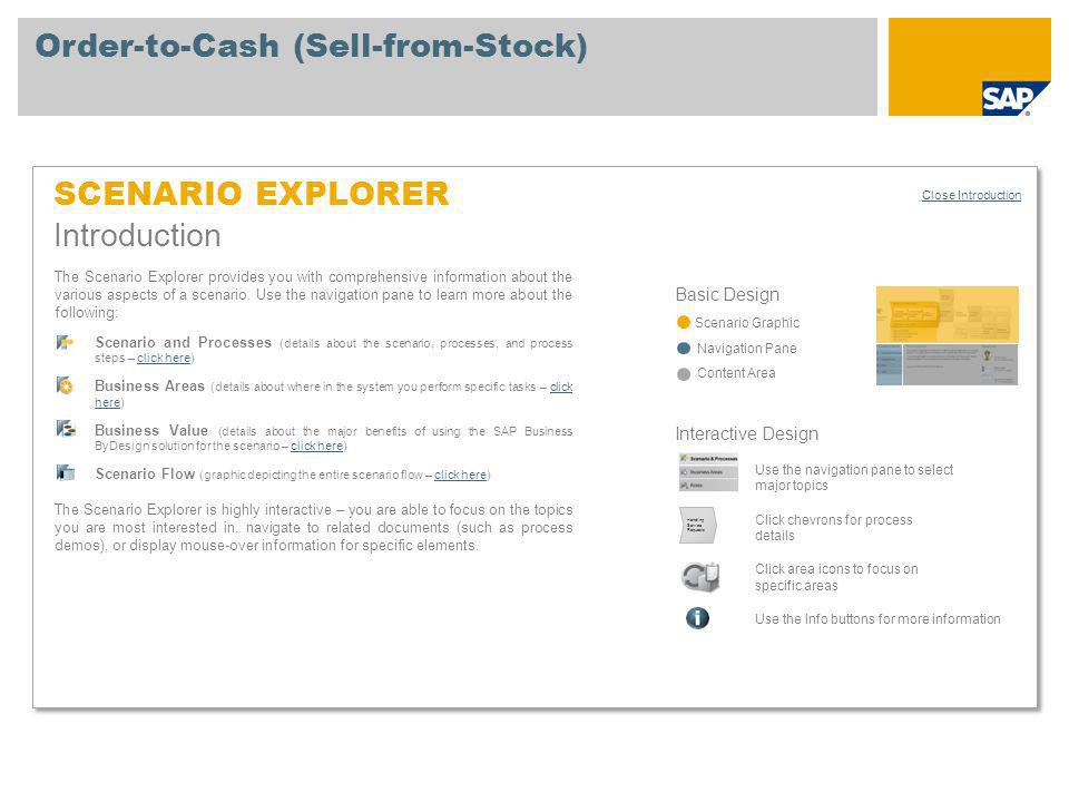 Order-to-Cash (Sell-from-Stock) Scenario Overview Scenario Explorer Open Legend Scenario Description Sales/Customer Service Representative Warehouse Manager Warehouse Operator This scenario enables you to sell goods from stock using a wide range of standard features to handle sales quotes, sales orders, deliveries, customer invoices, and payments.
