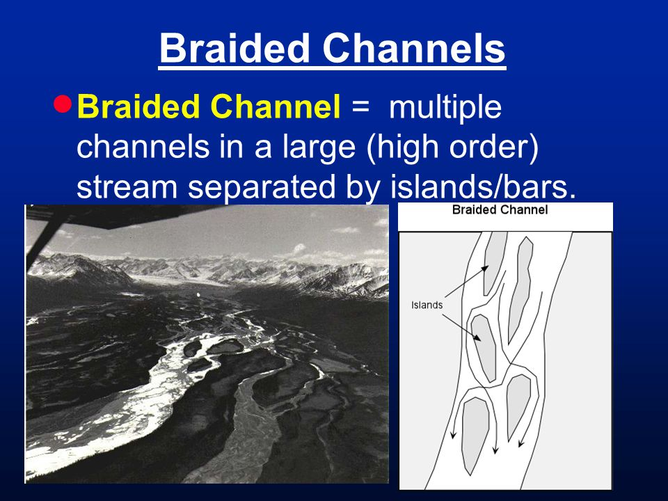 Braided Channels Braided Channel = multiple channels in a large (high order) stream separated by islands/bars.