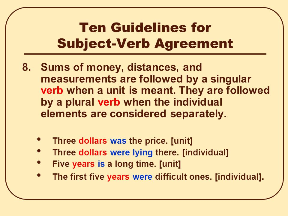 Ten Guidelines for Subject-Verb Agreement 7.Titles of books, essays, short stories, and plays; a word spoken of as a word; and the names of businesses