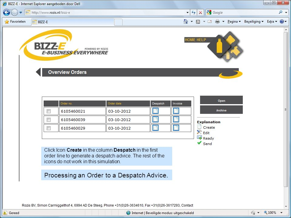 Processing an Order to a Despatch Advice.