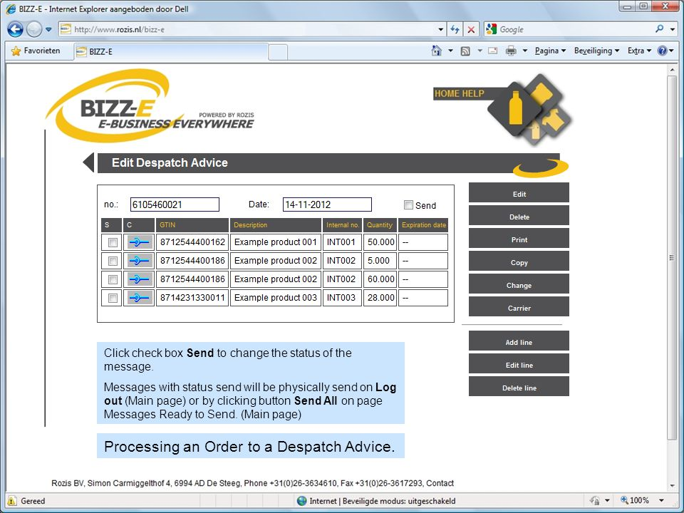 Processing an Order to a Despatch Advice. Click check box Send to change the status of the message.