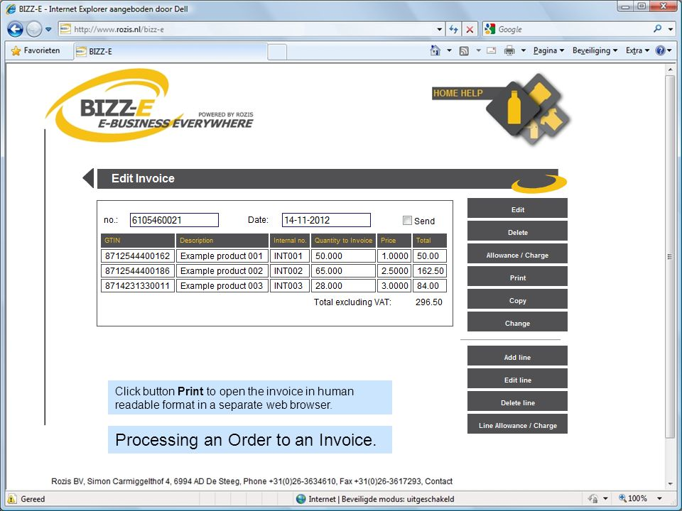 Click button Print to open the invoice in human readable format in a separate web browser.