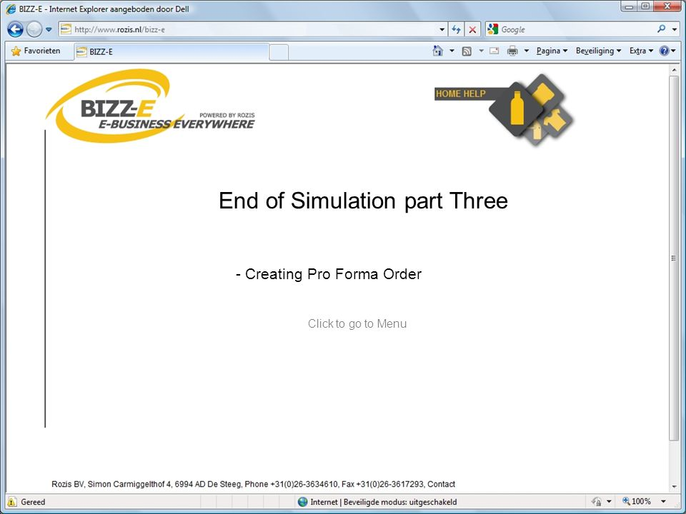 End of Simulation part Three - Creating Pro Forma Order Click to go to Menu
