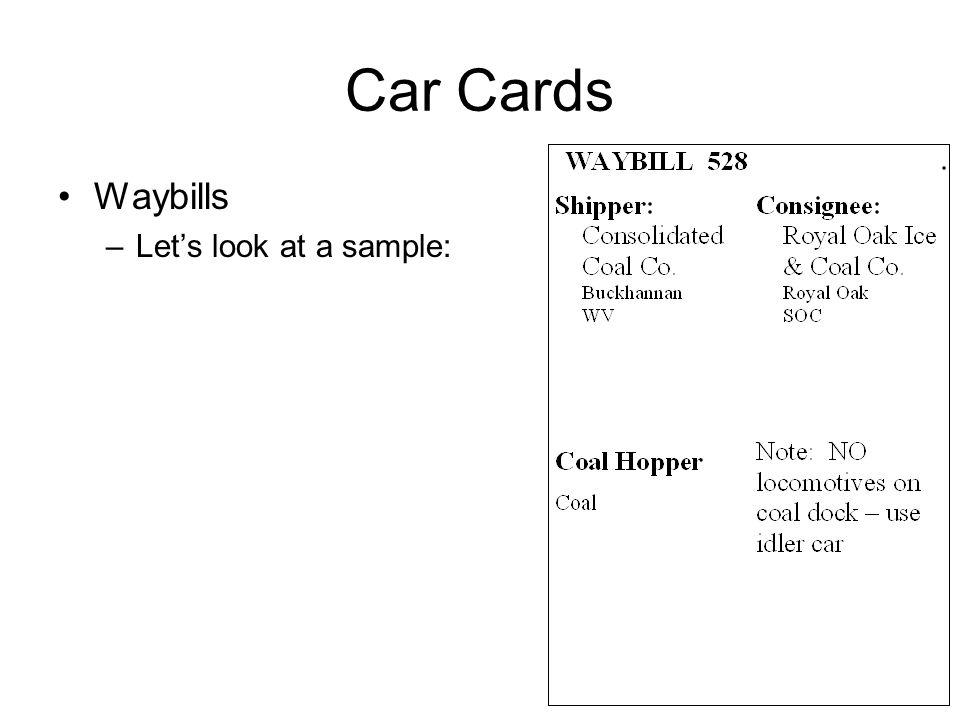 Car Cards Waybills –Lets look at a sample: