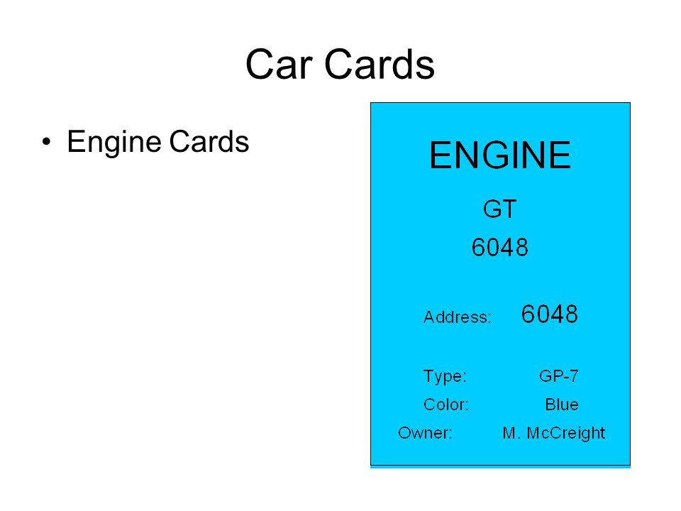 Car Cards Engine Cards