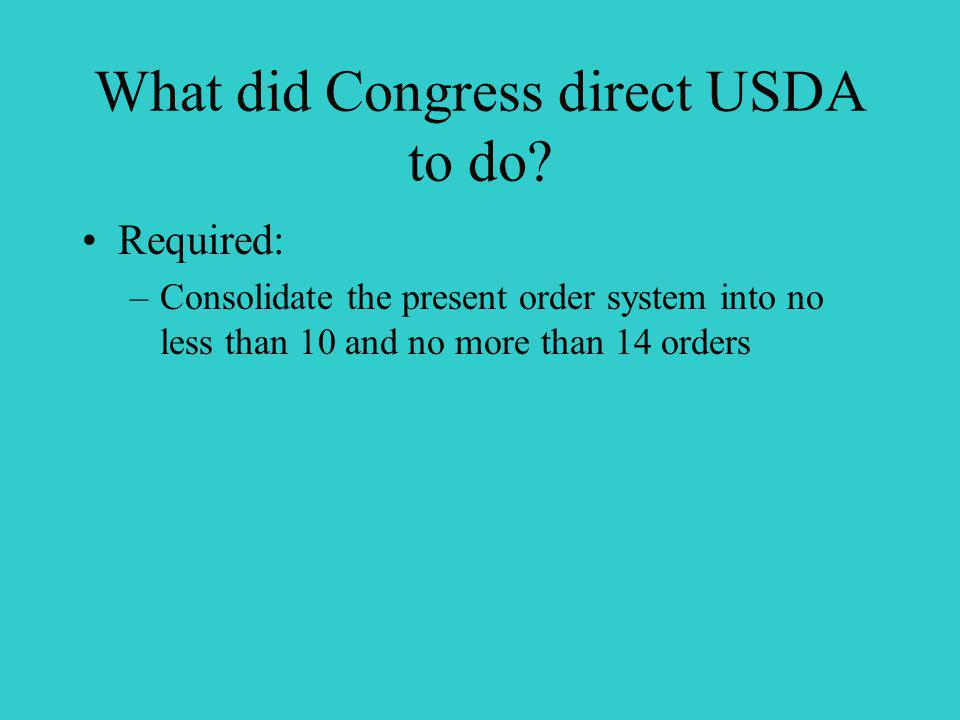 What did Congress direct USDA to do.