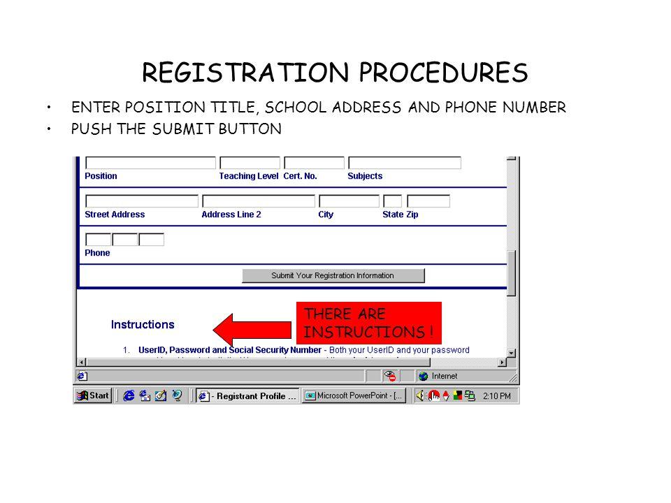 REGISTRATION PROCEDURES THE END.