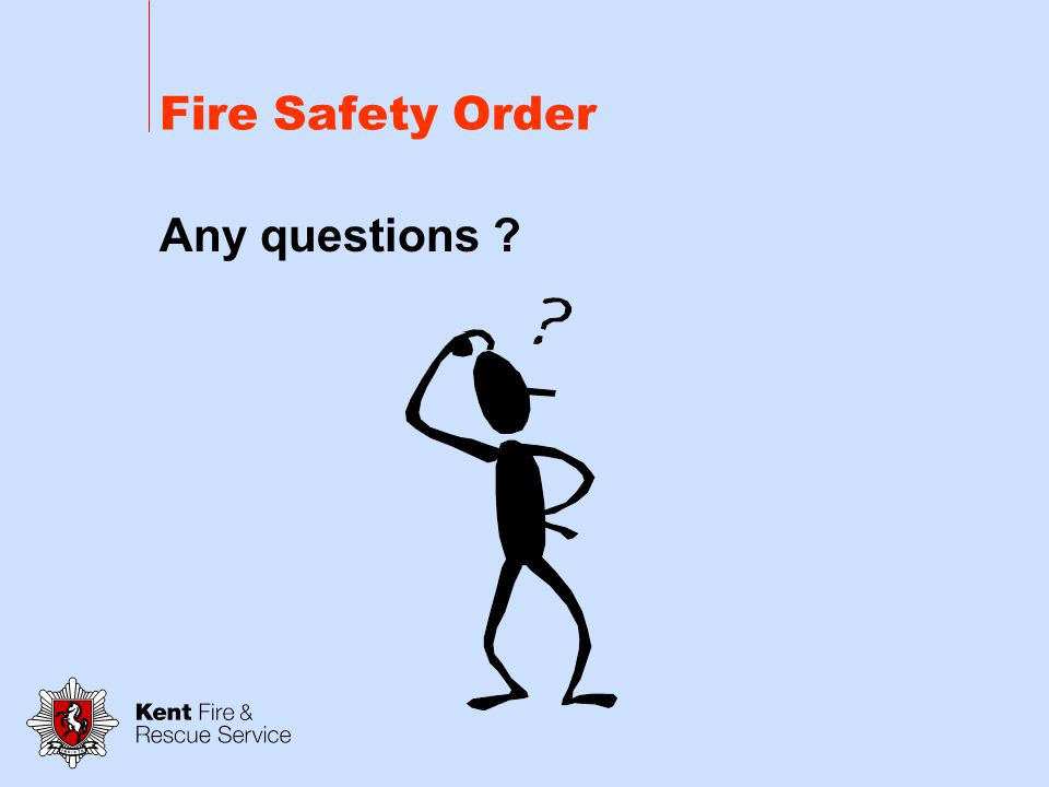 Managing Fire Safety Common Parts - Multiple occupancy Flats and HMOS applies to areas up to and including the door to the flats/rooms Risk Assessment – Responsible Person Article 18 Safety Assistance-Notification to other occupiers Article 17 -Maintenance Article 8 - General Fire Precautions Article 13 - Fire Fighting and Fire Detection Article 14 - Emergency Routes and Exits