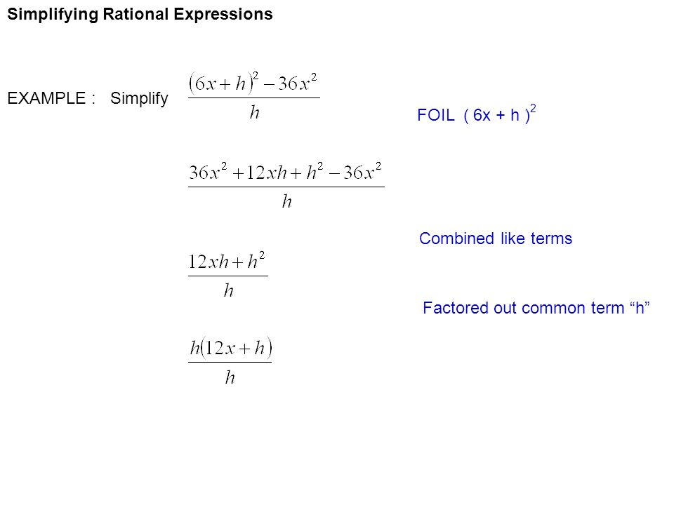 Simplifying Rational Expressions EXAMPLE : Simplify FOIL ( 6x + h ) 2 Combined like terms Factored out common term h