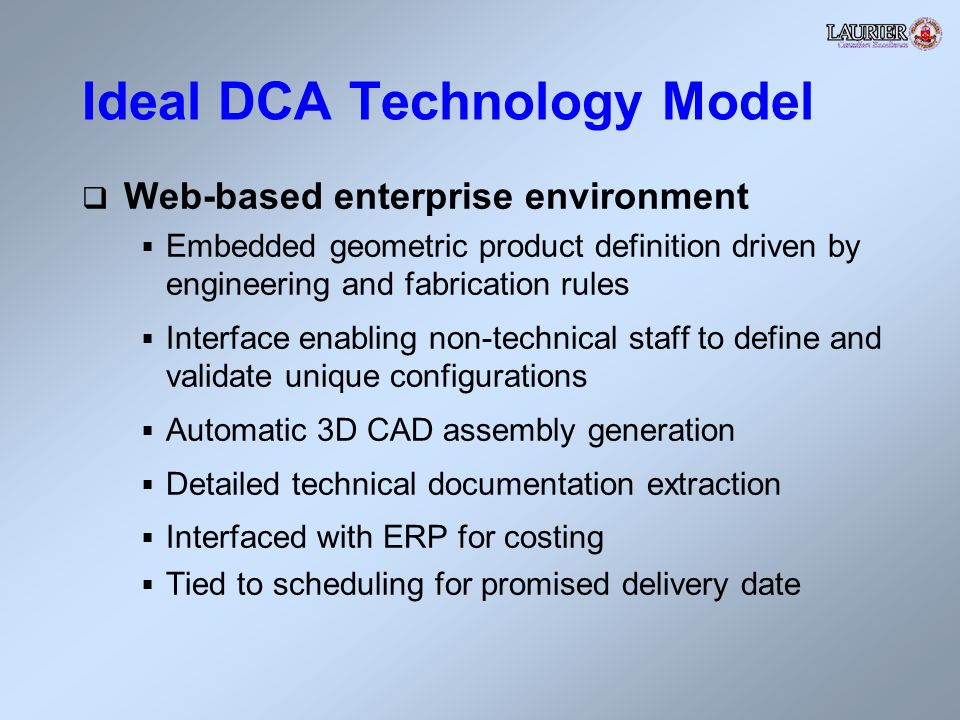Ideal DCA Technology Model Web-based enterprise environment Embedded geometric product definition driven by engineering and fabrication rules Interface enabling non-technical staff to define and validate unique configurations Automatic 3D CAD assembly generation Detailed technical documentation extraction Interfaced with ERP for costing Tied to scheduling for promised delivery date