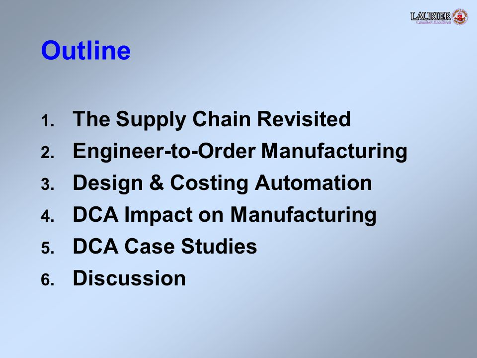 Outline 1. The Supply Chain Revisited 2. Engineer-to-Order Manufacturing 3.