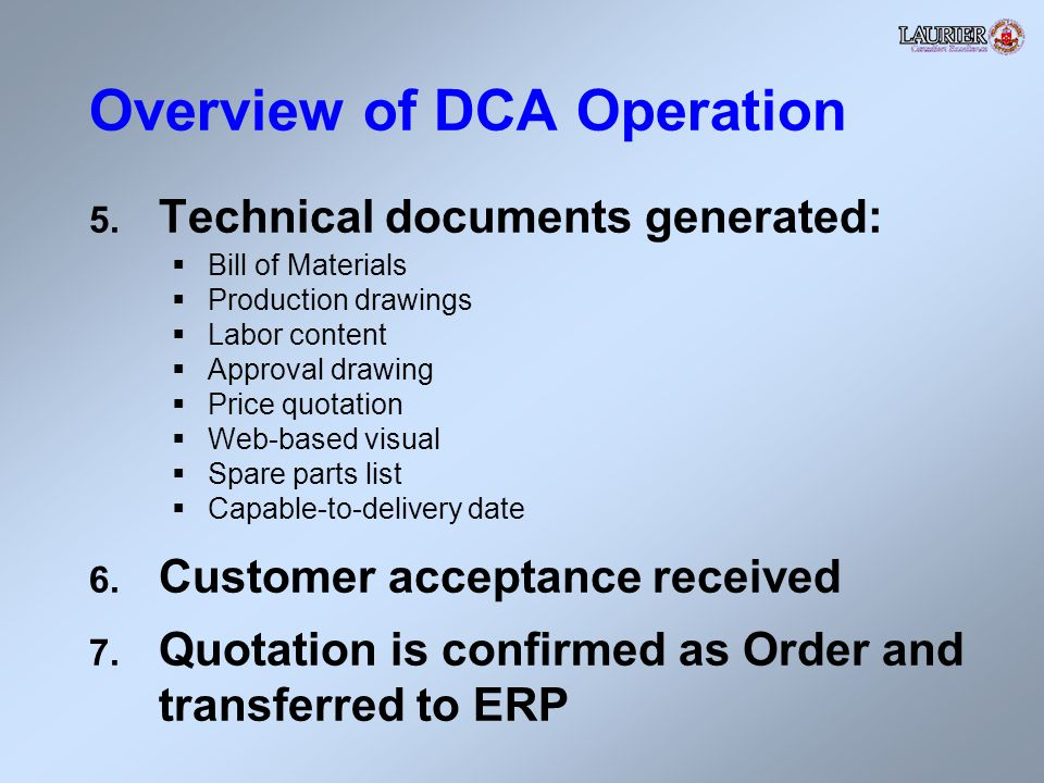 Overview of DCA Operation 5.