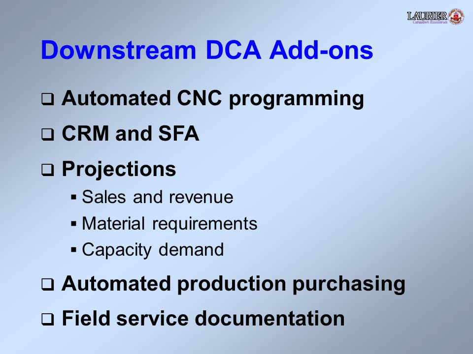 Downstream DCA Add-ons Automated CNC programming CRM and SFA Projections Sales and revenue Material requirements Capacity demand Automated production purchasing Field service documentation