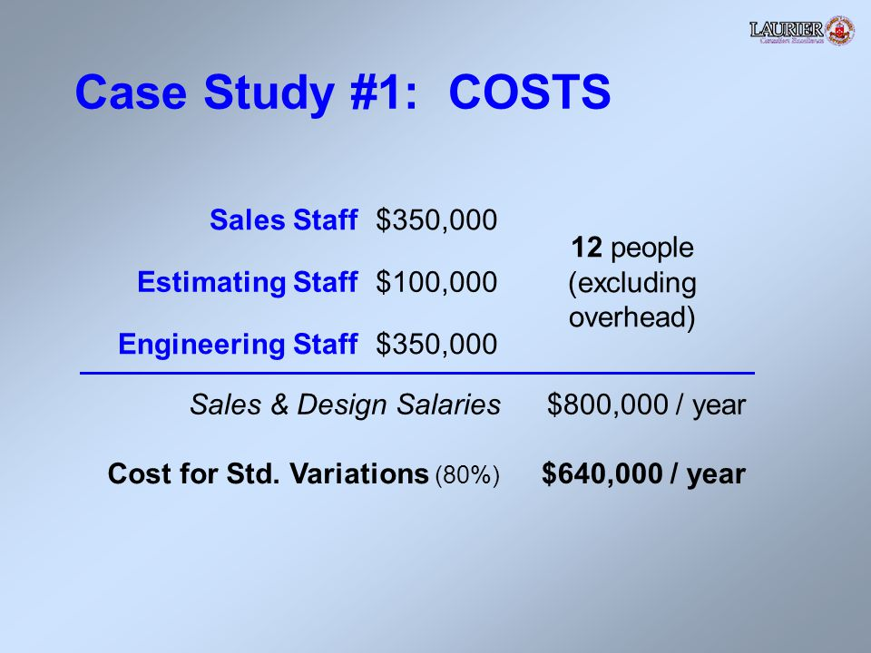 Case Study #1: COSTS Sales Staff$350,000 12 people (excluding overhead) Estimating Staff$100,000 Engineering Staff$350,000 Sales & Design Salaries$800,000 / year Cost for Std.