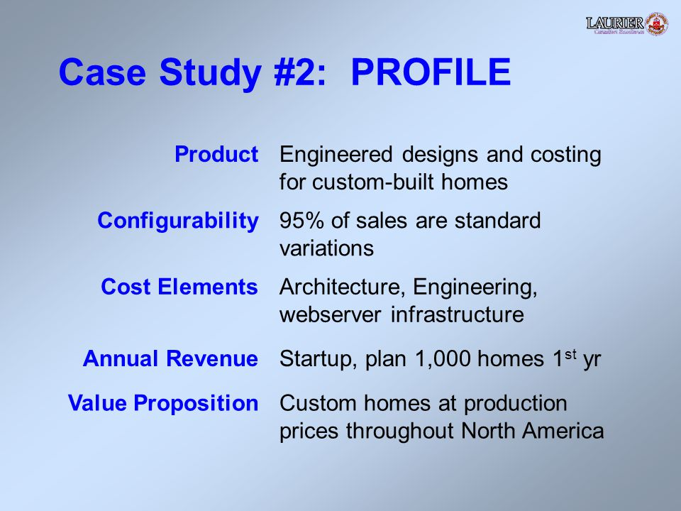 Case Study #2: PROFILE ProductEngineered designs and costing for custom-built homes Configurability95% of sales are standard variations Cost ElementsArchitecture, Engineering, webserver infrastructure Annual RevenueStartup, plan 1,000 homes 1 st yr Value PropositionCustom homes at production prices throughout North America