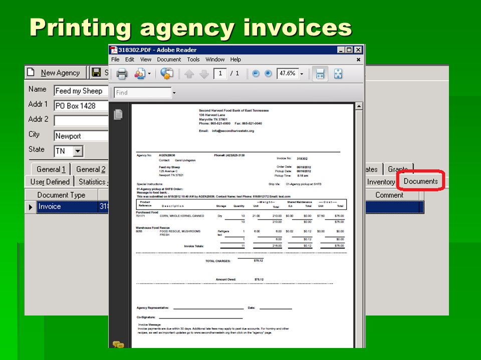 Printing agency invoices