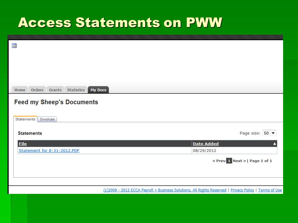 Access Statements on PWW