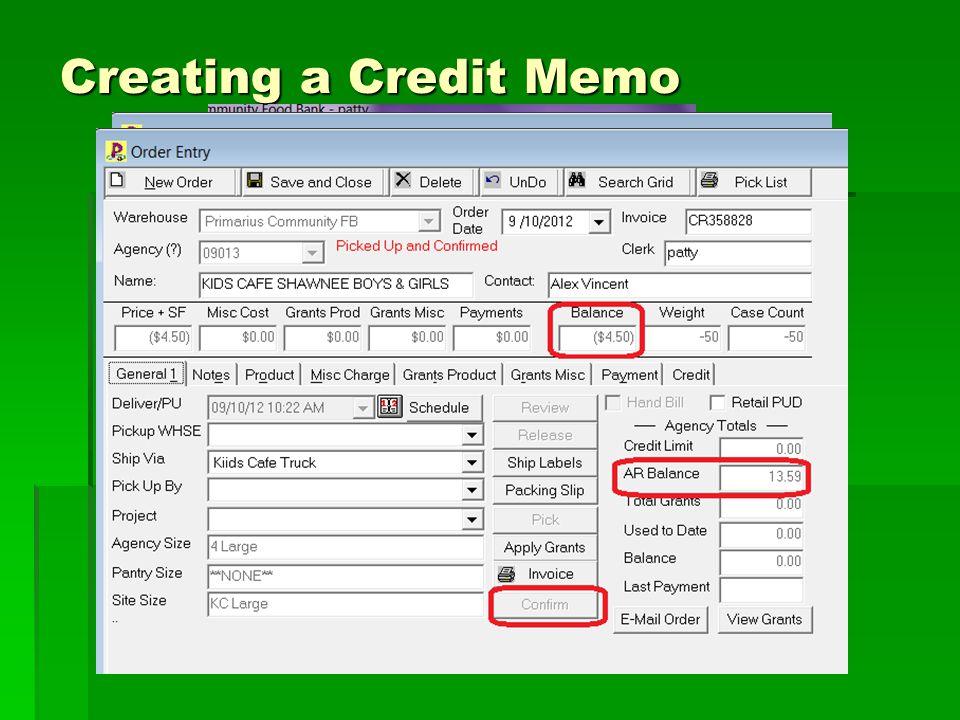 Creating a Credit Memo